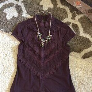 Hale Bob S purple lace Victorian boho blouse top